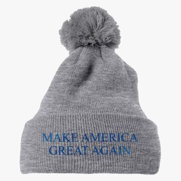 Make America Great Again Embroidered Knit Pom Cap