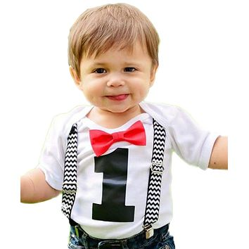 Smash Cake Outfits Baby Boy Black Chevron Red Bow Tie