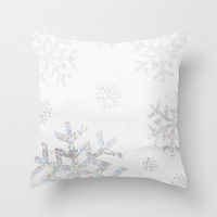 Snowflake Glitter Throw Pillow by Jessica Slater Design & Illustration