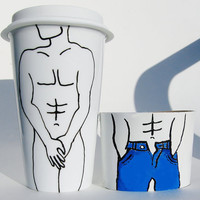 Male Nude Travel Mug / Hand Painted Mug / Ceramic Travel Mug / To Go Mug / Coffee Mug with Silicone Lid and Sleeve