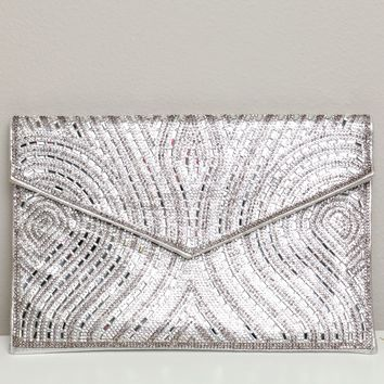 Beaded Detailed Clutch Silver