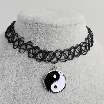 Tattoo Choker Necklace with Cool Pendant + Gift Box-31