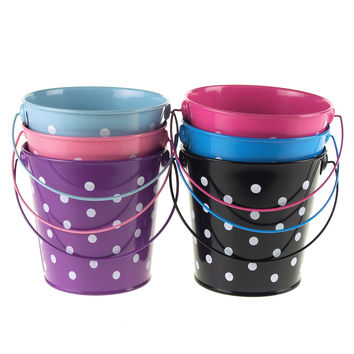 Polka Dot Metal Pail Buckets Party Favor, 5-inch