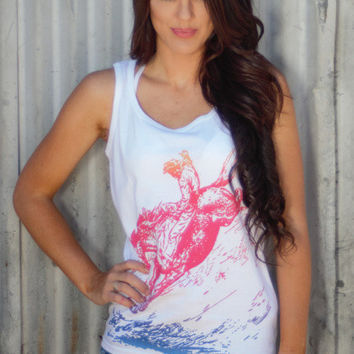 Ombre Bronco Rodeo Tank Top Shirt by Original Cowgirl Clothing Co.