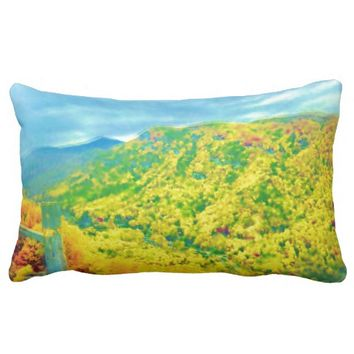 Air Brushed Painted Hiking Through the Mountains Lumbar Pillow