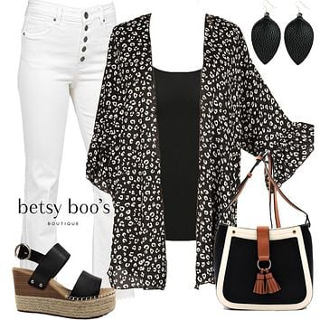 (pre-order) Set 816: Animal Bell Sleeve Kimono (incl. kimono, tank & earrings)