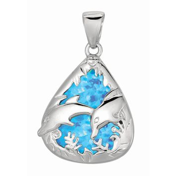 Silver with Rhodium Finish Shiny Created Opal Teardrop Shape Pendant with Dolphi N