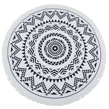 Black Sun Round Mandala Beach Towel