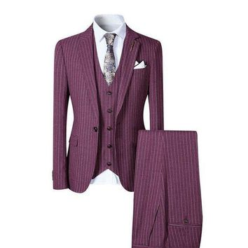 DCCKON3 stylish men suit 3 pieces single one button striped suits wedding party business casual style slim fit
