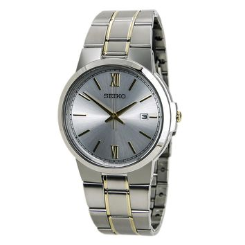 Seiko SGEG45 Men's Silver Dial Two Tone Gold Plated Steel Bracelet Watch