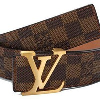 Lv Brown Damier Lv Buckle Belt