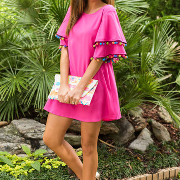 Headed To Mexico Dress, Hot Pink