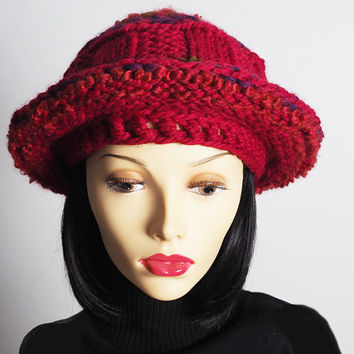Red slouchy beanie  - Ready to ship - Dreads hat - Rasta tam - Knitted berry beret - Crochet crimson hat - Fashion knit hat - Teen girl hat