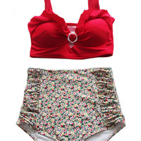 Red Top and Flora Floral High waisted High-waist Swimsuit Swimsuits Bikini Bikini set sets 2 piece Swim Bath Bathing suit suits dress S M