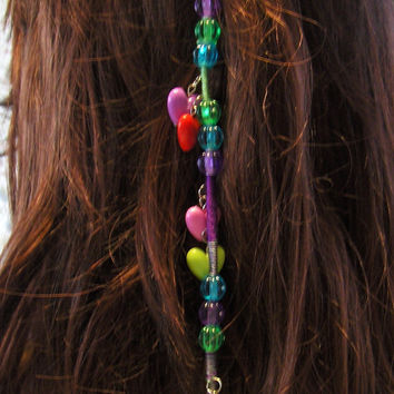 Kandi Clip In Hair Wrap Extension/Hair Jewelry/Bohemian Hair/Hippie Hair/Bath and Beauty/Rave Jewelry/Plur Jewelry/Hair Care