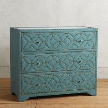 Nailhead Linen Three-Drawer Dresser by Anthropologie