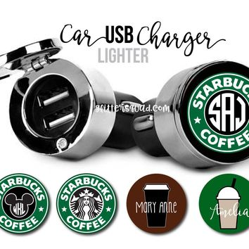Coffee Collection USB Car Chargers / Personalized USB Car Charger