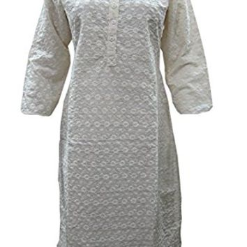 Womens Indian Embroidered Kurti Tunics Cotton Designer Hand Embroidered Dress