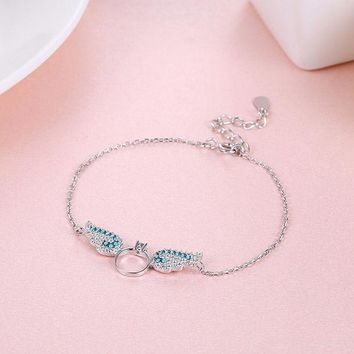 ac NOVQ2A s925 silver angel wings bracelet diamond bracelet