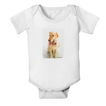 Golden Retriever Watercolor Baby Romper Bodysuit