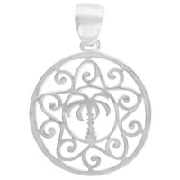 Southern Gates Large Palmetto Tree Scroll Pendant in Sterling Silver