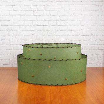 Vintage 50s Two-Tier Green Fiberglass Atomic Lamp Shade with Gold Stars