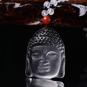 Fashion graceful white crystal Buddha pendant necklace for men women bring lucky love Buddha with beads chain necklace jewelry