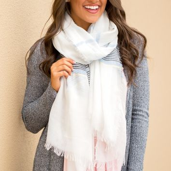 Sea Breeze Scarf in White | Monday Dress Boutique