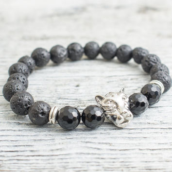 Black lava stone beaded silver Leopard head stretchy bracelet with faceted onyx beads, mens bracelet, womens bracelet