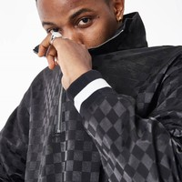 Satin Checkboard Half-zip Up Top | Black