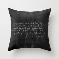 Velveteen Pillow - Nathaniel Hawthorne - Butterfly Quote - Nature - Black Throw Pillow - Typography - Black and White - Chalkboard Print