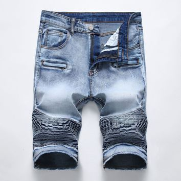 Denim Shorts Slim Rinsed Denim Ruffle Summer Jeans [1574711656541]
