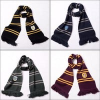 Harry Potter Gryffindor Slytherin Hufflepuff Ravenclaw Warm Knitted Stripe Scarf Cosplay Accessory