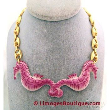 Sea Horse Necklace: Pink Limoges Box