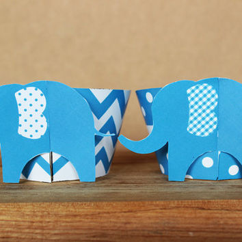 3D Blue Elephant Cupcake Wrappers in bright blue chevron and polka dots – DIY party printable - baby shower or birthday - INSTANT DOWNLOAD