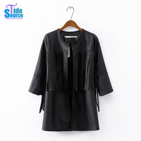 2015 European and America Style 3/4 Sleeve Black Women Long Medium Leather Coat With Tassel Cool Motorcycle PU Leather Jacket