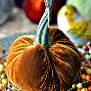 1 Medium Cinnamon Brown Silk Velvet Pumpkin, Fall Decor, Table Centerpiece, Homemade Rustic Decoration