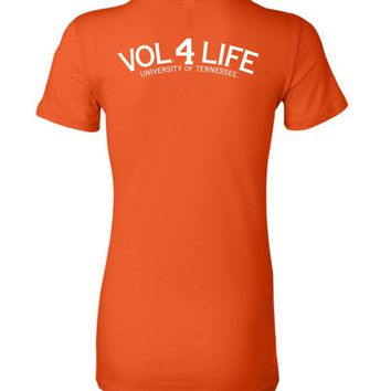 Official NCAA University of Tennessee Volunteers, Knoxville Vols UT UTK Women's Vol 4 Life White Ladies Favorite Tee - 35TN-5