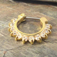 16 Gauge Sparkly Gold Septum Ring Clicker Daith Ring Nose Piercing