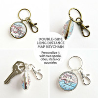 Long Distance Boyfriend Gift / Double sided Map Keychain / Long Distance Keychain / Valentines Gift for Him / Long Distance Best Friend
