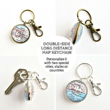 684082c603f61 Long Distance Boyfriend Gift   Double sided Map Keychain   Long