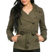 Double Breasted Short Trench Coat in Olive