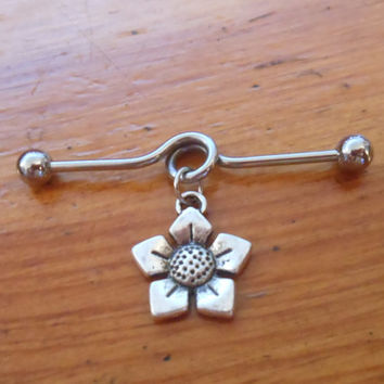 Industrial Barbell - Silver Flower Industrial Barbell - Industrial Piercing