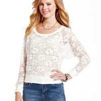 Dolled Up Juniors Top, Long Raglan Sleeve Lace