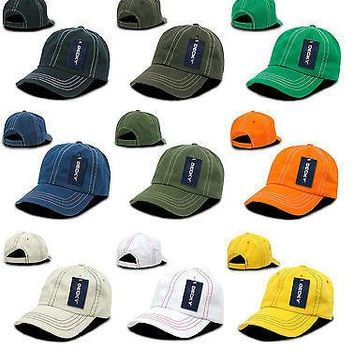 New Contra-Stitch Washed Polo Caps Hats Ballcap-100% Cotton- Decky 111