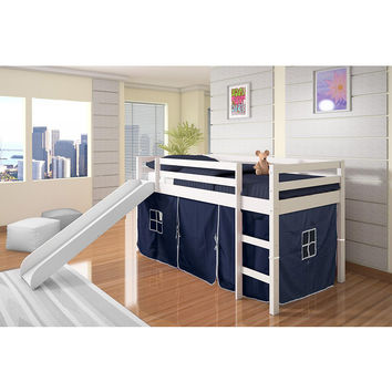 Blue & White Tent Loft Bed & Slide | something special every day