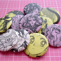 Repurposed Sailor Moon / Mixxzine Manga Button or Magnet Lot of 5
