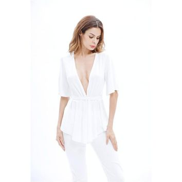 White Blouse Shirt Women Half Sleeve Tops Deep V Neck Casual Solid