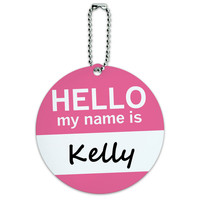 Kelly Hello My Name Is Round ID Card Luggage Tag