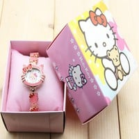 2018 new Hello Kitty Watch Kids Cute Children's Watches Cartoon Bracelet Girl  Baby Clock in box watch